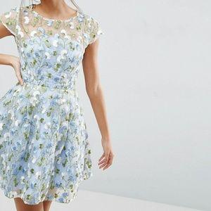 ASOS SALON Floral Embroidered Skater Mini Dress